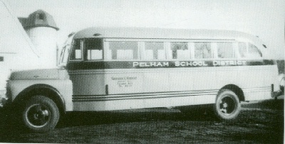 The first yellow school bus in Pelham in the early 1940s. It was owned by Frederick E. Herbert.